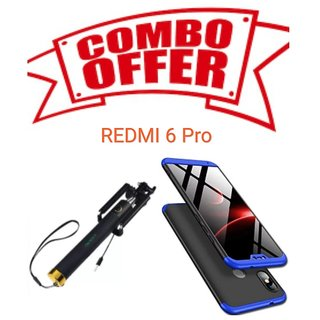 OGW BACK  CASE COVER FOR REDMI 6 PRO - 3 IN 1  BLUE   BLACK WITH OFFER