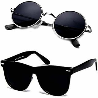 26a402abcb5 Buy Meia Unisex UV Protected 55 Black Round Sunglasses and Black Wayfarer  Square Goggle Sunglasses for Mens Women Online - Get 84% Off