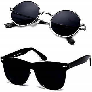 Meia Black & Silver UV Protection Medium Full Rim Round Metal Unisex Sunglasses - Pack of 2