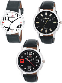 Radius By smartshop16 Analogue Men'S  Boy's watch leather strap combo Pack of 3( R-41+50+45)