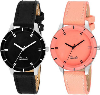 Kds CutGlass Orange and Black pack of 2 Leather Women Watch