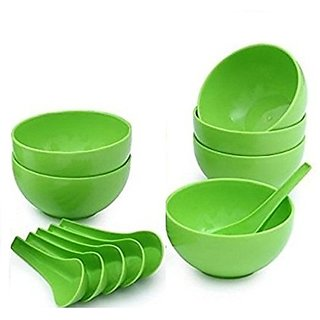 Premium Quality Round Shape Soup Bowls Set (6 Bowl and 6 Spoon) - Microwave Safe - for Home