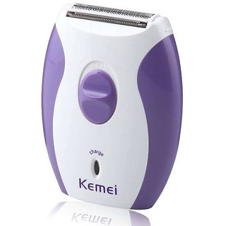 2 in 1 Epilator for Women- Epilator -Trimmer and Shaver in One -Full Body Beauty Styler -Kemei KM 280R (Blue and White)
