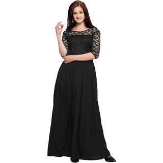 Western Black Solid Maxi Dress