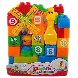 Building Blocks Play Learn Set,Learning Blocks For Kids With Cartoon Figures, Bag Packing, Best Gift Toy, Multi color (S