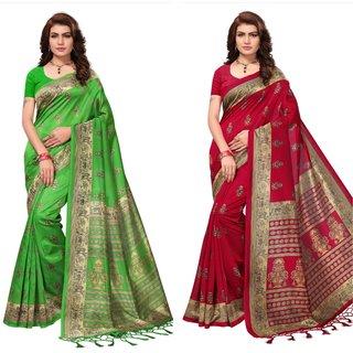 Green And Maroon Printed Art silk saree
