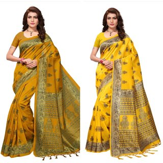 Brown And Yellow Printed Art Silk Saree