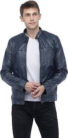 Emblazon Men's Dark Blue Leather Jacket
