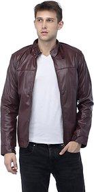 Emblazon Men's Maroon Leather Jacket
