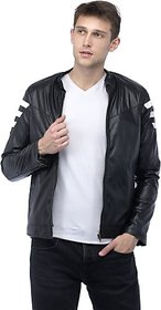 Emblazon Men's Black, White Leather Jacket