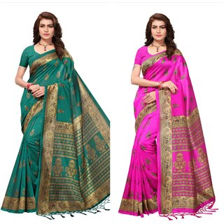 Dark Green And Pink Printed Art Silk Saree