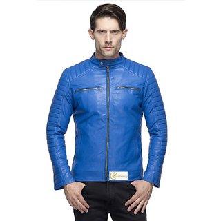 Emblazon Men's Blue Leather Jacket