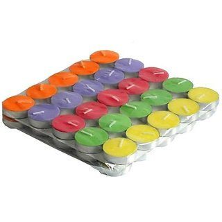AuraDecor Multi purposes Tea Light Candles (MultiColoured, Set of 50)