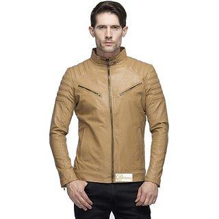 Emblazon Men's Beige Leather Jacket