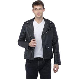 Emblazon Men's Black Leather Jacket