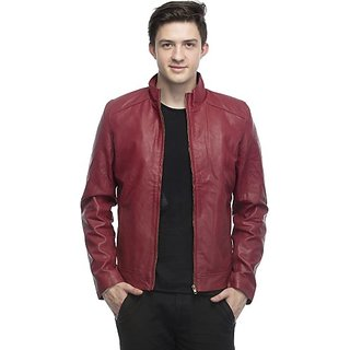 Emblazon Men's Maroon Leather Jacket