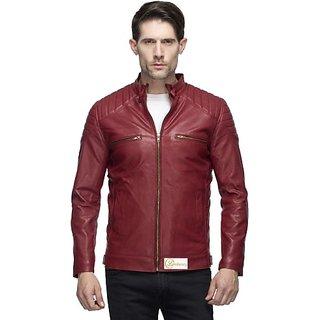 cefb9b8b7 Lambency Men's Maroon Leather Jacket