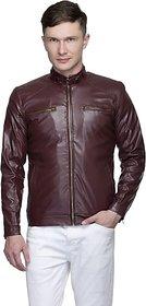 Lambency Men's Maroon Leather Jacket