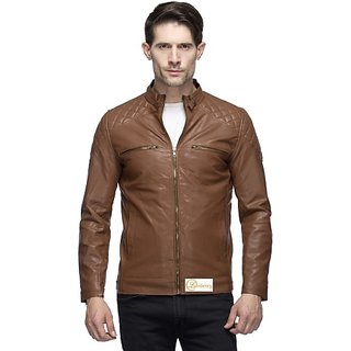 Lambency Men's Brown Leather Jacket