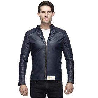 Lambency Men's Dark Blue Leather Jacket