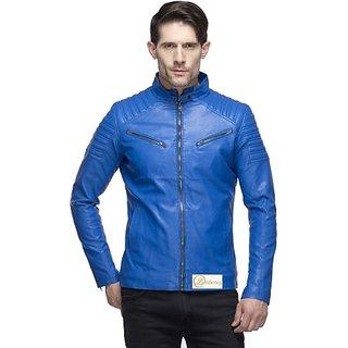 Lambency Men's Blue Leather Jacket