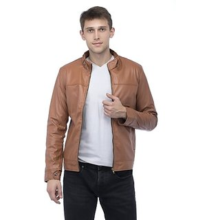 Lambency Men's Tan Leather Jacket