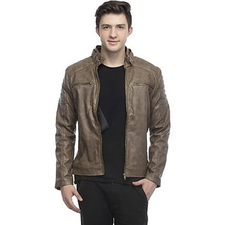 Lambency Men's Brown Leather Jacket