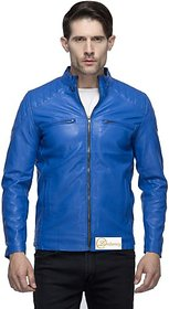 Emblazon Men's Blue Leather Jacket