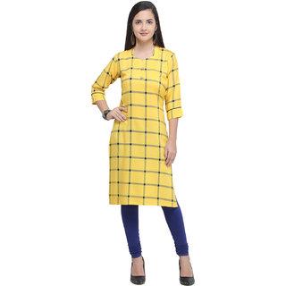 Swaron Yellow Rayon Check Printed Kurta
