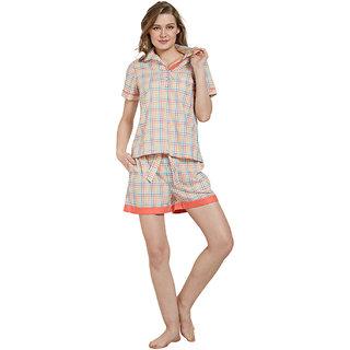 Mystere Paris Multicolor Checked Shirt Shorts Set