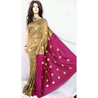 Designer Multicolored cotton Silk Handloo Saree With Blouse Piece