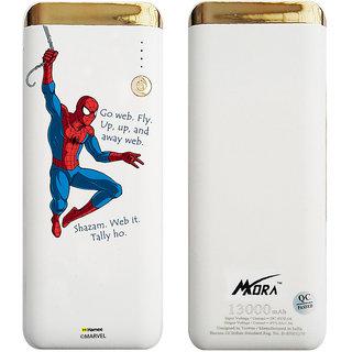 MORA X Hamee Designer Marvel Licensed 13000 MAh BIS Certified Colour Changing LED Light Torch Power Bank (Spiderman / Go Web)