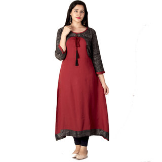 237472962a3b Buy Meera Fab Womens/Girls Party Wear Red Black Printed Long Kurti ...