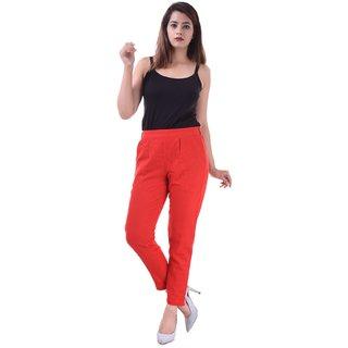 Real Bottom Women Slub Cottton (Red) Solid Pants