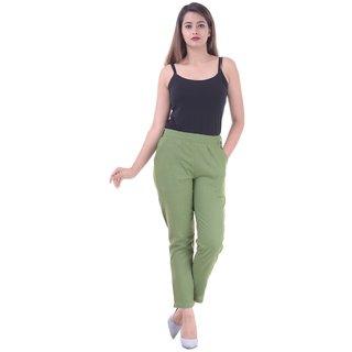 Real Bottom Women Slub Cottton (Olive) Solid Pants