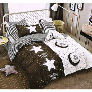Welhouse India  Super Soft Cotton Double BED LINEN 4 PCS SET_B&W-02