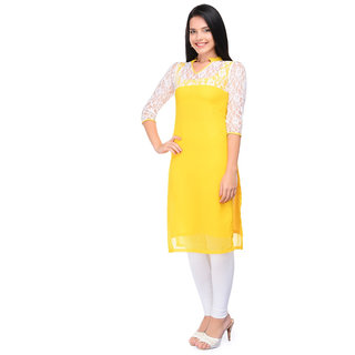 New Latest Yellow Polly Cotton Straight Kurti For Women  Girls