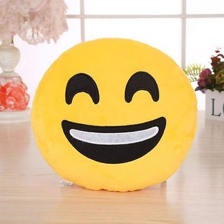 Besim Plush Happy Face Emoji Cushion Pillow Soft Toy ( Yellow )