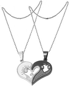 Men Style Valentine Gift Couple Stainless Steel Necklace Sets I Love You Heart Shape Pendant
