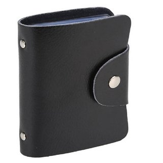 Divyazon Beautiful India Mens Black PVC Leather Card Holder Pack of 1 (10 Card Slots)
