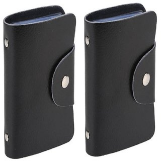 Divyazon Beautiful India Mens Black PVC Leather Card Holder Pack of 2 (10 Card Slots)