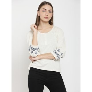 Tunic nation Solid Crepe 3/4 Sleeves White Top
