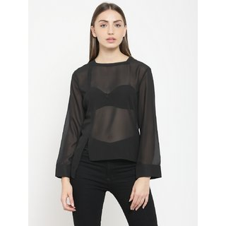 Tunic nation Solid Georgette Full Sleeves Black Top