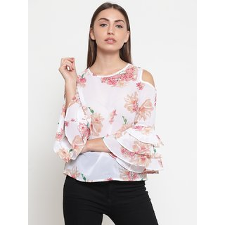 Tunic nation Printed Georgette Bell Sleeves White Top