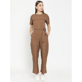 Tunic nation Printed Crepe Half Sleeves Brown Jumpsuit