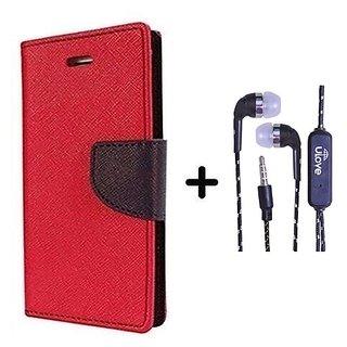 Wallet Flip Cover For LG Nexus 5X    - RED With Tarang Earphone