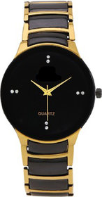 IIK Collection Gold  Black Strap Metal Fashionable Watch For Men  Boy