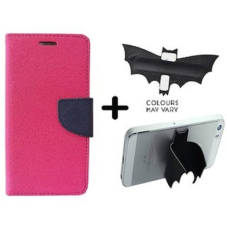 Wallet Flip Cover For HTC Desire 616  / HTC  616  - PINK With Batman Design One tocuh silicon stand