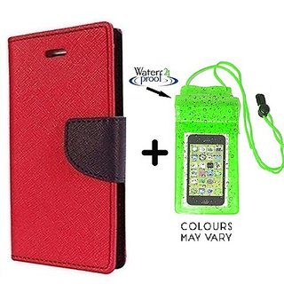 Wallet Flip Cover For Micromax Canvas 2 A110  / Micromax A110  - RED With Underwater Pouch Phone Case