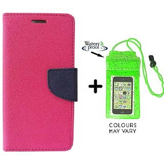 Wallet Flip Cover For HTC Desire 616  / HTC  616  - PINK With Underwater Pouch Phone Case